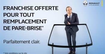 Franchise offerte pour tout remplacement de para-brise chez le garage Duverger Renault